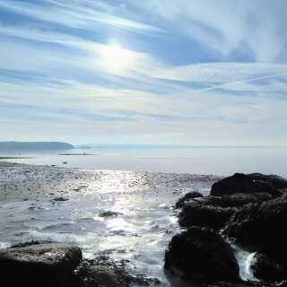 Smukt og koldt weekendvejr ved Følle Strand, Djursland.