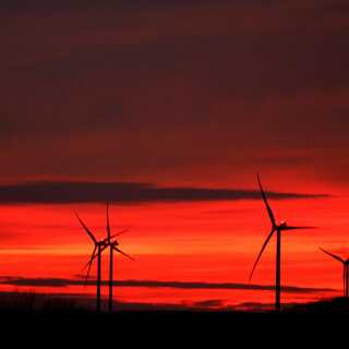 FILE PHOTO: Power-generating windmill turbines are pictured at sunset at a wind park in Moeuvres near Cambrai, France, November 12, 2018. REUTERS/Pascal Rossignol/File Photo