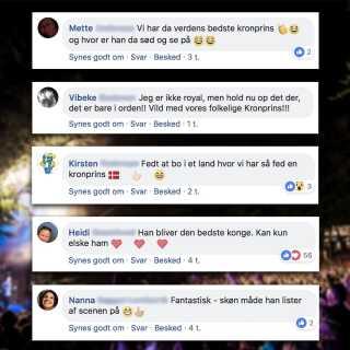 Kronprinsen bliver hyldet på de sociale medier efter sit Smukfest-stunt.