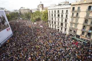 Demonstranter for et uafhængigt Catalonien i Barcelona i oktober 2017.