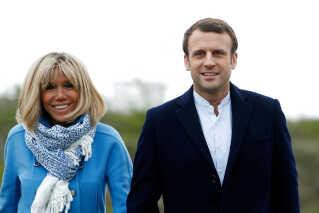 Emmanuel Macron sammen med sin 24 år ældre hustru, Brigitte Trogneux.