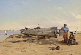 Ubåden malet af Conrad Wise Chapman i 1863.