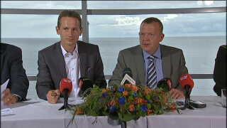 Venstres Lars Løkke Rasmussen og Kristian Jensen på partiets pressemøde i forbindelse med et sommergruppemøde på Bornholm i august 2011.