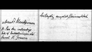 """""""Ukendt Mandsperson. Paa den indvendige Side af Bukselinningen stod Navnet H. Gossom"""". Gravprotokol fra Zion Kirke. Provst Biering begravede Harry Gasson."""