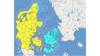 Der er risiko for isslag på Sjælland, Møn, Lolland og Falster, samt i den nordøstlige del af Jylland. I resten af Jylland og på Fyn er der et varsel om isslag