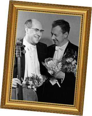 Musikalsk ægteskab? Rostropovitj og komponisten Benjamin Britten i 1964.