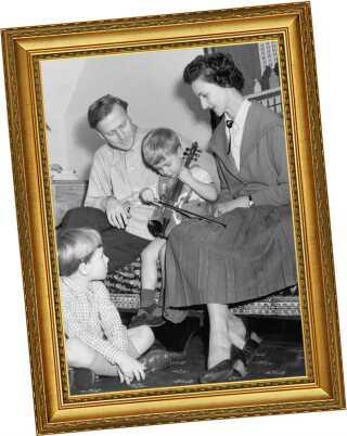 Menuhin med sin anden kone, Diana, og børnene Gerald og Jeremy i 1954