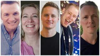Melodi Grand Prix-juryen 2017: Mogens Dalsgaard Myklebust, Mette Thorning Svendsen, Peter Hansen, Morten Kaiser og Søren Toft.