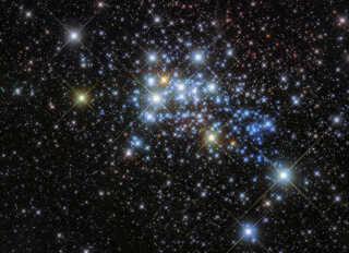En illustration af en samling stjerner, som er opdaget via Hubble-rumteleskopet.
