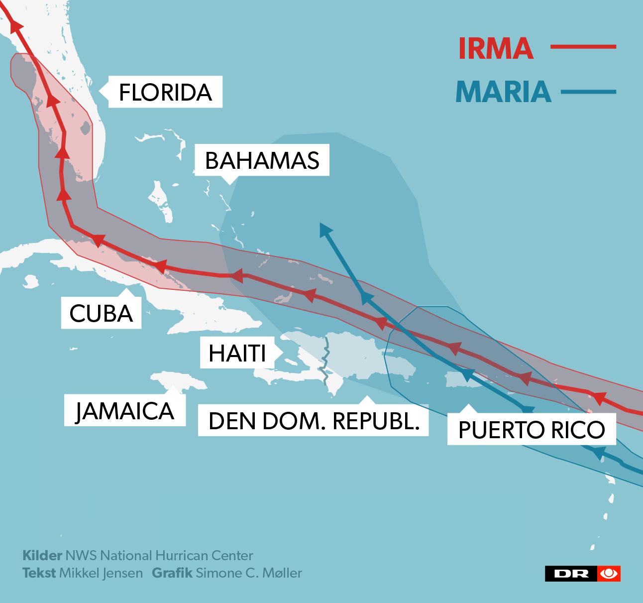 Orkanen Maria følger Irmas spor op gennem Caribien.