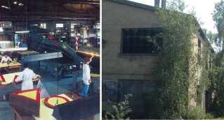 Til højre ser man, hvordan fabrikslokalerne så ud, dengang skiltefabrikken i Slagelse var aktiv, i 2004 rykkede fabrikkens aktiviteter til Odense, og siden har bygningen været ubrugt. (Fotos: Slagelse Arkiverne og Mathilde Nordenlund)