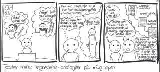 """Tegneseriestriben er fra den 26. oktober 2015, hvor Ditte Høyer Engholm beskriver, hvordan hun ønsker at bruge tegneserier til at """"guide"""" publikum ind i sine malerier."""