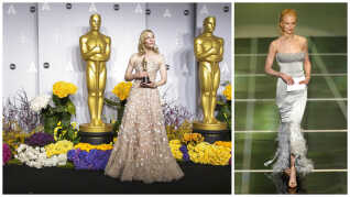 Cate Blanchett med en Oscar i hænderne ved prisuddelingen i 2014. (t.v.) Nicole Kidman i en kreation fra Karl Lagerfeld i 2004 (t.h.).