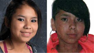 Til venstre et skolefoto af Tina Fontaine fra 2013, til højre et nyere, udateret foto.