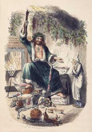 'Old Father Christmas', som han er portrætteret i Charles Dickens' 'A Christmas Carol' fra 1843.