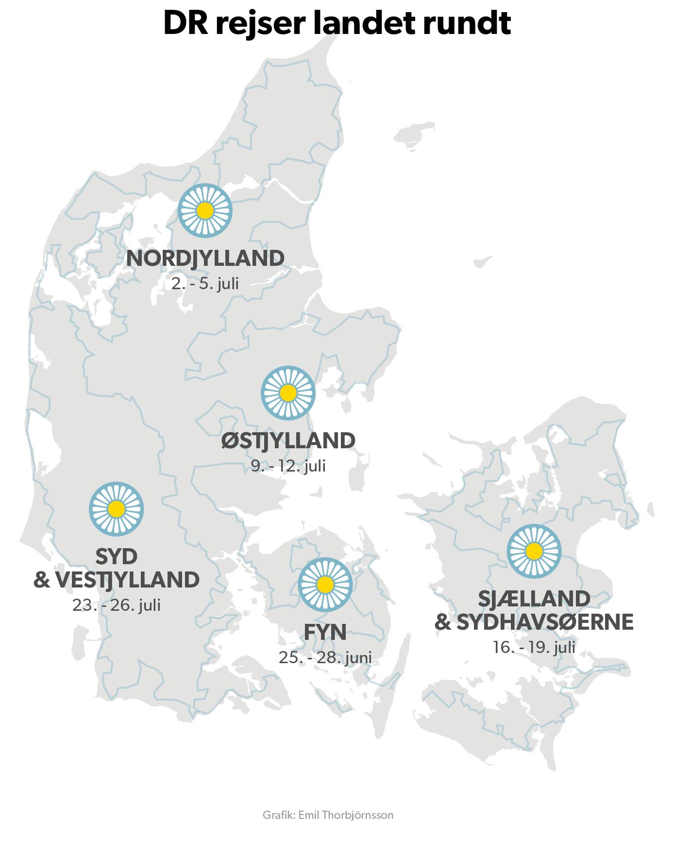 På kortet kan du se, hvor DR Vejret rejser hen de næste uger. Tirsdag er turen kommet til Ejerslev Havn på Mors. Du kan sende dine sommerbilleder til vejret@dr.dk eller 1212@dr.dk.
