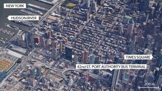 Port Authority Bus Terminal er centrum for al bustrafik til og fra New York.