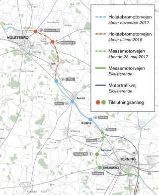 Motorvejsstrækningen mellem Sinding og Tvis åbner nu i november - mens den sidste strækning fra Tvis til Holstebro Nord stadig først åbner efter planen i slutningen af 2018.