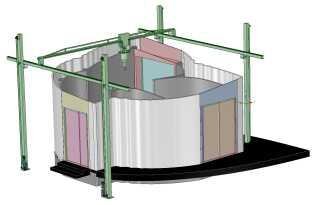 Den hjemmebyggede 3D-printer fylder 8X8X6 meter. 3D Printhuser har selv bygget printeren af indkøbte standardkomponenter.