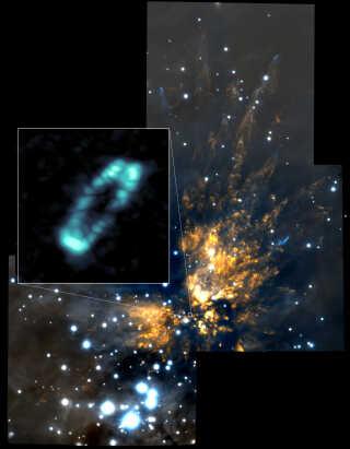 Her ses saltmolekylerne som en blå ring i udsnittet fra Orion-stjernetågen.