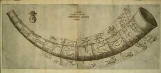 Ole Worms tegning af guldhornene i 1641.