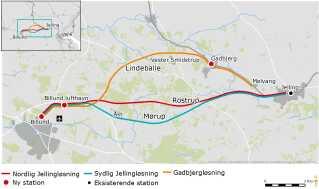 Der er tre ruteføringer i spil for jernbanen, og de veksler i pris og i, hvor lang tid man sparer i forhold til de nuværende busruter. Med jernbanen sparer man mellem 60 sekunder og 4½ minut.