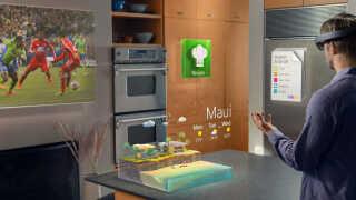 Sådan forestiller Microsoft sig, at HoloLens-teknologien kan bruges i hjemmet.