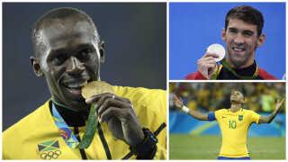 Usain Bolt (til venstre), Michael Phelps (øverst til højre) og Neymar endte ifølge Marco de los Reyes som de tre mest lysende stjerner ved legene i Rio de Janeiro.
