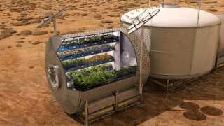 NASA forestiller sig, at man kan koble et gartneri på selve beboelsesbasen på Mars. På den måde kan besætningen blive selvforsynende med grøntsager.