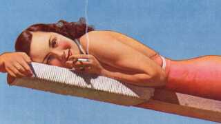 I mellemkrigstiden tog flere og flere kvinder cigaretterne til sig (Reklame for Carrera-cigaretter 1930'erne)