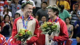 Maze og Finn Tugwell vinder bronze i double ved OL i 2004.