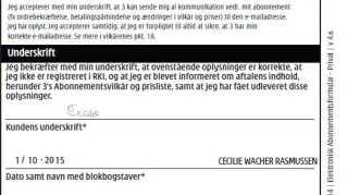 Her er den forfalskede underskrift, der blev brugt på kontrakten hos teleselskabet 3.