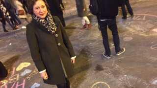 Paula Riaglot havde taget turen ind på pladsen ved børsbygningen.