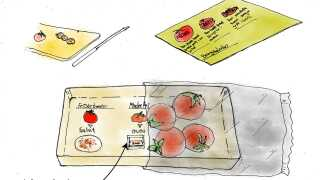 Sådan tænker man, at emballagen kan give kunderne hjælp til at bruge råvaren rigtig. Her er det tomater, der går fra at være friske og velegnede til salater til at være mindre friske og bedre fx som tilberedning i ovn eller i gryderetter.