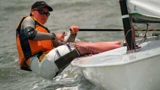 Kristine Roug på vandet ud for Savannah ved OL i 1996.