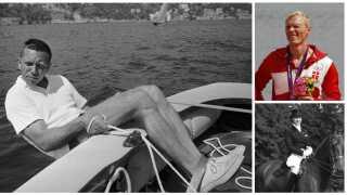 Paul Elvstrøm på vandet under OL i 1960, hvor han vandt sin fjerde guldmedalje. Øverst til højre ses Eskild Ebbesen, der fem gange har vundet en medalje med letvægtsfireren. Under ham ses Lis Hartel på sin hest Jubilée, som hun vandt to sølvmedaljer med.