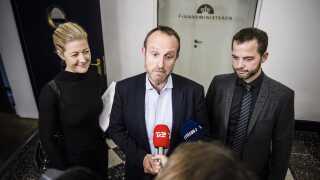 Martin Lidegaard flankeret af Sofie Carsten Nielsen og Morten Østergaard under sidste års finanslovsforhandlinger.