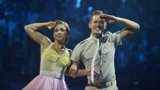 Stephania Potalivo og hendes dansepartner Morten Kjeldgaard blev nummer to i sidste års Vild med dans. Her ses de under en dans i finalen i Horsens.
