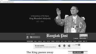 Bangkok Post i gråt og med portræt af kongen efter hans død.