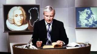 Den 2. oktober 1978 bliver TV-Avisen for første gang sendt i farver med Steen Bostrup som vært. Det var det sidste program i DR, der overgik til farver. (Foto: DR arkiv)