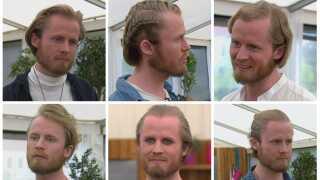 Udover fuld fart på og masser af lækre kager, kan single-fyren Sune også byde på et væld af ansigter og frisurer.