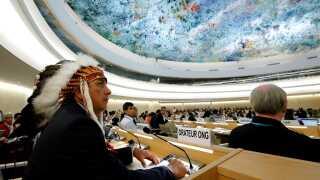 Dave Archambault II var i september sidste år på besøg hos FN's Menneskerettighedsråd i Genève for at tale om Dakota Access.