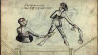 I stedet for en retssag kunne to stridende parter vælge en duel, der kunne afgøre forbrydelse. Den der tabte duellen, skulle tage straffen på sig. Tegningen er fra Hans Talhoffers fægtemanual fra 1459.