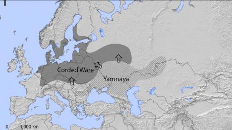 Her ses det, hvordan yamnaya-folket vandrede ind i det nordlige Europa for omkring 5000 år siden.