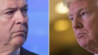 Tidligere FBI-chef James Comey og Præsident Donald Trump.