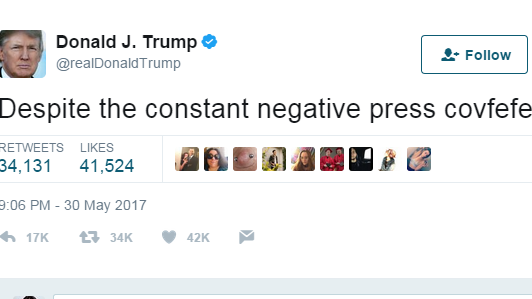 Et screendump af det slettede Trump-tweet. (Foto: Twitter/Donald Trump)