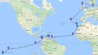Ruten frem mod Fransk Polynesien i Stillehavet, fordelt på fem togter
