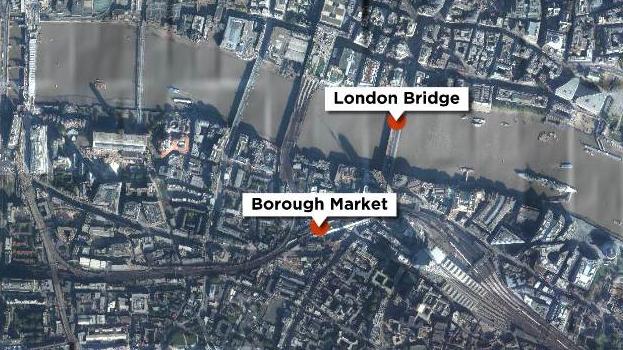 Angrebene skete på London Bridge og ved Boroug Market i det centrale London.