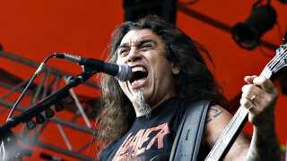 Roskilde Festival 2008. Med Tom Araya i front giver det amerikanske band Slayer koncert på Orange Scene ved Roskilde Festivalen søndag d. 6 juli 2008.