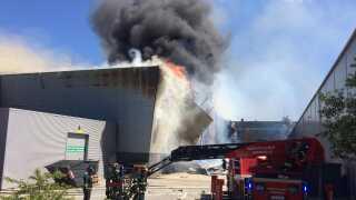 Branden blev anmeldt til Nordjyllands Politi klokken 11:25 onsdag. Foto: Mikkel From Nielsen DR Nordjylland